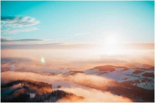 Beautiful mountain range scenery in the morning